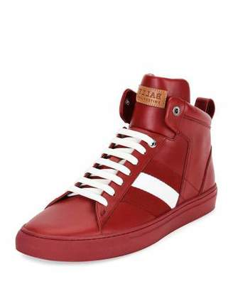 Bally Vitello High-Top Sneaker w/Trainspotting Stripe, Red $495 thestylecure.com