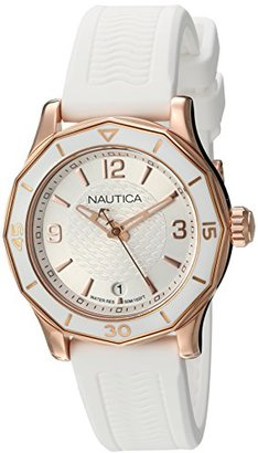 Nautica Women's 'NWS 01' Quartz Stainless Steel and Silicone Casual Watch, Color:White (Model: NAD13537L) $135 thestylecure.com