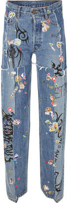 Vetements Distressed Embellished Straight-leg Jeans - Mid denim