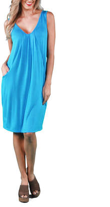24/7 Comfort Apparel Drape Front Shift Dress