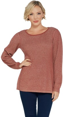 Halston H By H by Scoop-Neck Pullover Sweater with Sleeve Detail