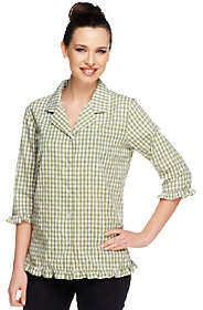 Denim & Co. Seersucker Gingham 3/4 SleeveRuffle Shirt