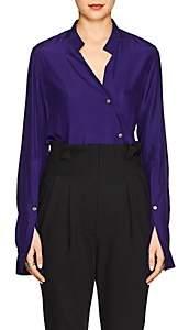 Ji Oh Women's Silk Crepe Asymmetric Blouse - Purple