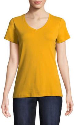 ST. JOHN'S BAY Short Sleeve V Neck T-Shirt-Womens Petite