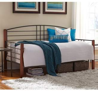 Dayton Leggett & Platt Complete Metal Daybed with Link Spring and Trundle Bed Pop-Up Frame, Black Grain Finish, Twin