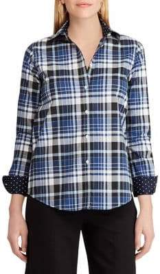 Chaps Petite Plaid Cotton Button-Down Shirt