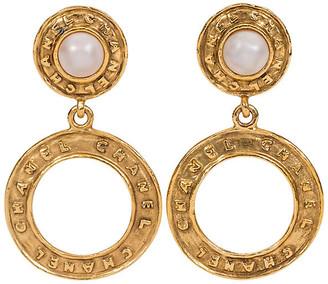 One Kings Lane Vintage Chanel Pearl Hoop Dangle Clip Earrings - Vintage Lux