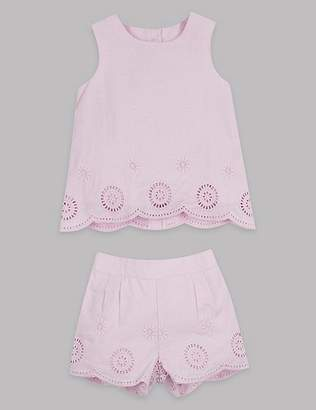 Marks and Spencer 2 Piece Laser Cut Top & Shorts Outfit