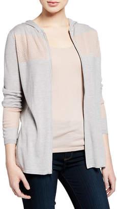 Neiman Marcus Zip-Front Colorblock Cashmere-Blend Hoodie Jacket w/ Mesh Insets