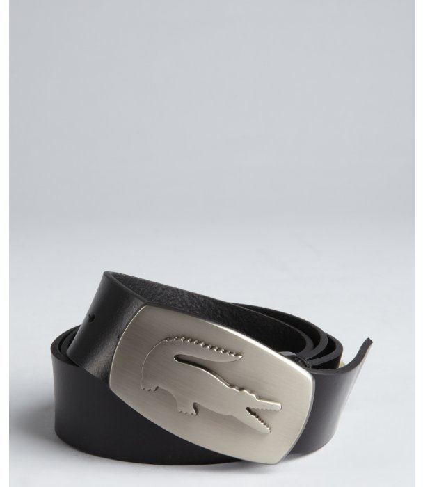 Lacoste black leather and crocodile buckle belt