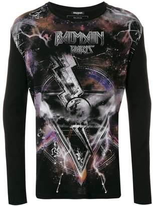 Balmain space print long sleeve T-shirt
