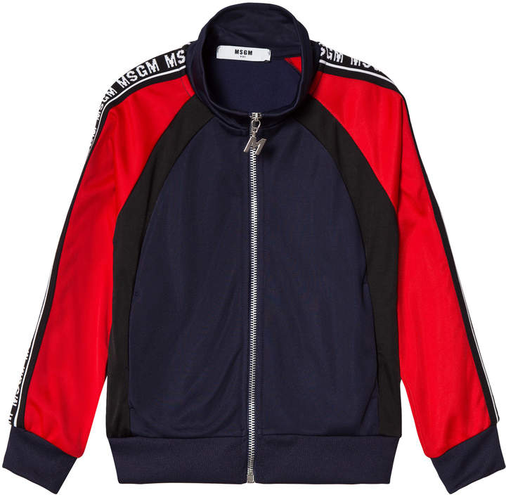 Msgm Red, Navy Colour Block Logo Track Jacket