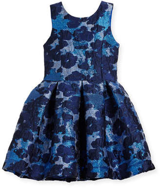 Zoe Adele Metallic Brocade Floral Dress, Size 4-6X