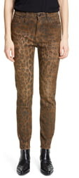 R 13 Leopard Print Distressed High Waist Skinny Jeans