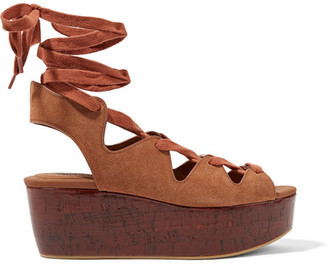 See by Chloé - Lace-up Suede Platform Sandals - Light brown $305 thestylecure.com