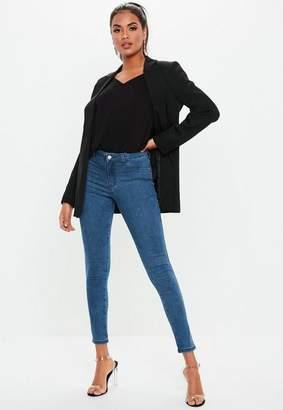 Missguided Indigo Anarchy Midrise Stretch Skinny Jean