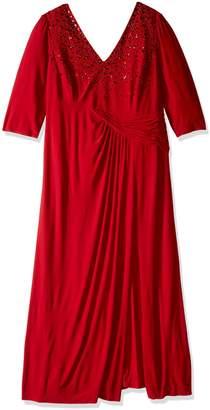 Marina Women's Plus-Size Ity Dress with Drop Waist Seam Ruched Draped Skirt