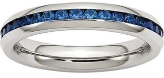 Primal Steel Primal Steel Stainless Steel 4mm September Blue CZ Ring