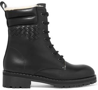 Bottega Veneta Shearling-lined Intrecciato Leather Ankle Boots - Black