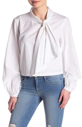 Frame Tie-Neck Poplin Blouse