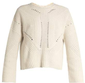 Isabel Marant Grifin Lace Up Back Cotton Blend Sweater - Womens - Beige