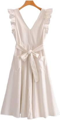 Goodnight Macaroon 'Unice' Frilly Cape Sleeve Tied Waist Midi Dress