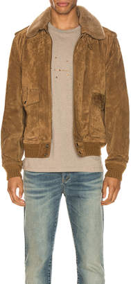 Saint Laurent Suede Shearling Flight Jacket in Brown | FWRD