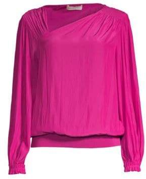 Ramy Brook Vic Shirred Satin Blouse