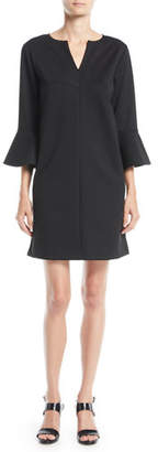 Joan Vass Slit-Neck 3/4 Bell Sleeve A-Line Crepe Dress, Petite