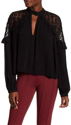Free People Long Sleeve Knit Shoulder Blouse