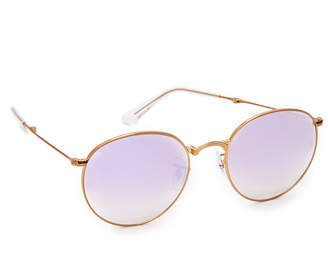 Ray-Ban Round Mirrored Sunglasses $225 thestylecure.com