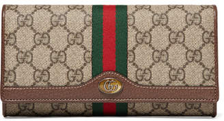 Gucci Ophidia Textured Leather-trimmed Printed Coated-canvas Shoulder Bag - Brown