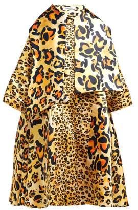Richard Quinn Leopard Print Satin Opera Coat - Womens - Leopard