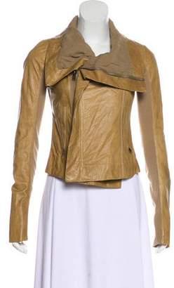 Rick Owens Funnel Neck Leather Jacket