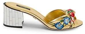 Dolce & Gabbana Dolce& Gabbana Dolce& Gabbana Women's Floral Knotted Block-Heel Slides Sandals