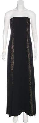 Armani Collezioni Strapless Lace-Trimmed Dress