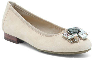 Jeweled Suede Ballet Flats