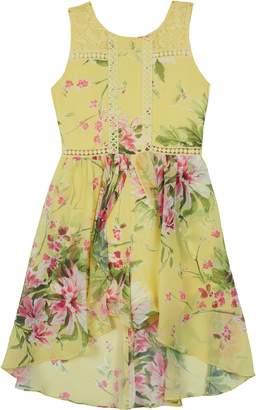 Amy Byer Iz Girls 7-16 IZ Sleeveless Floral Print Crochet High-Low Hem Skater Dress