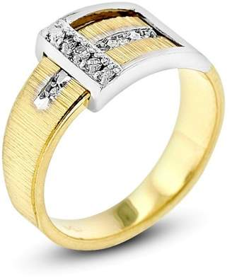 14K Yellow and White Gold 0.10 Ct. Diamond Belt Buckle Ring