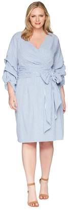 Adrianna Papell Plus Size Short Wrap Dress Long Sleeves Women's Dress