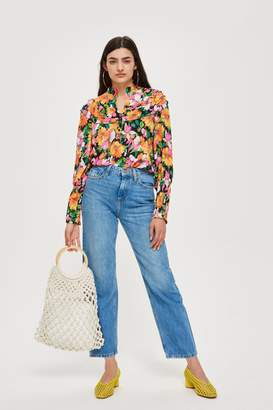 Topshop Mid Blue Straight Cropped Jeans