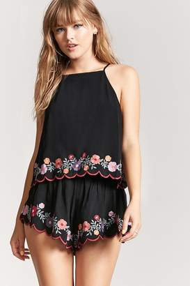 Forever 21 Embroidered Scallop Shorts
