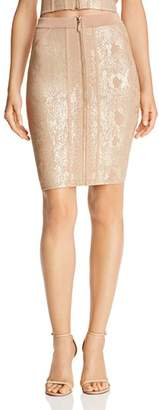GUESS Snake-Foiled Body-Con Skirt
