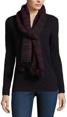 Libby Edelman Stripe Pom Oblong Cold Weather Scarf