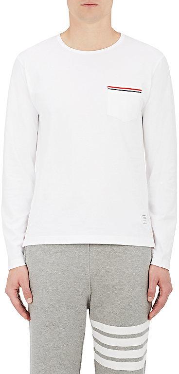 Thom Browne Men's Cotton Long-Sleeve Pocket T-Shirt-WHITE