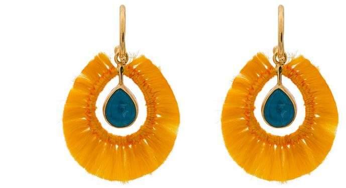 Katerina Makriyianni Yellow fringed gold vermeil apatite earrings