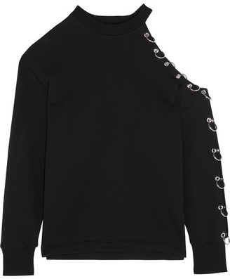 Cutout Embellished Cotton-jersey Sweatshirt - Black