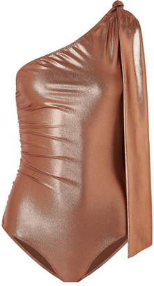 Lisa Marie Fernandez Arden Metallic One-shoulder Ruched Swimsuit - Bronze