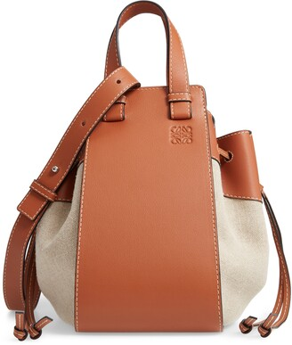 Loewe Hammock Drawstring Linen & Leather Hobo