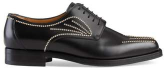 Gucci Leather crystal lace-up shoe